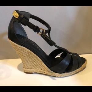 Black leather espadrilles with ankle straps